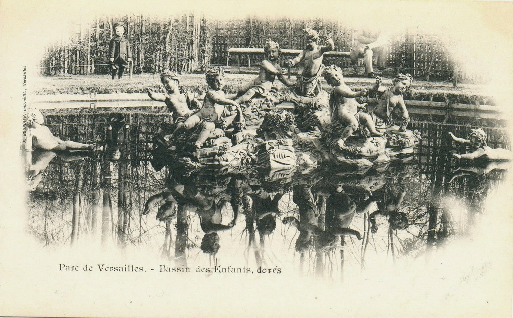 bassin de l 206 le aux enfants bosquet du rond vert jardins de versailles carte postale ancienne