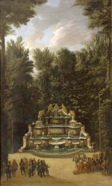 Vue de la fontaine du Buffet d'Eau dans les jardins du Grand Trianon