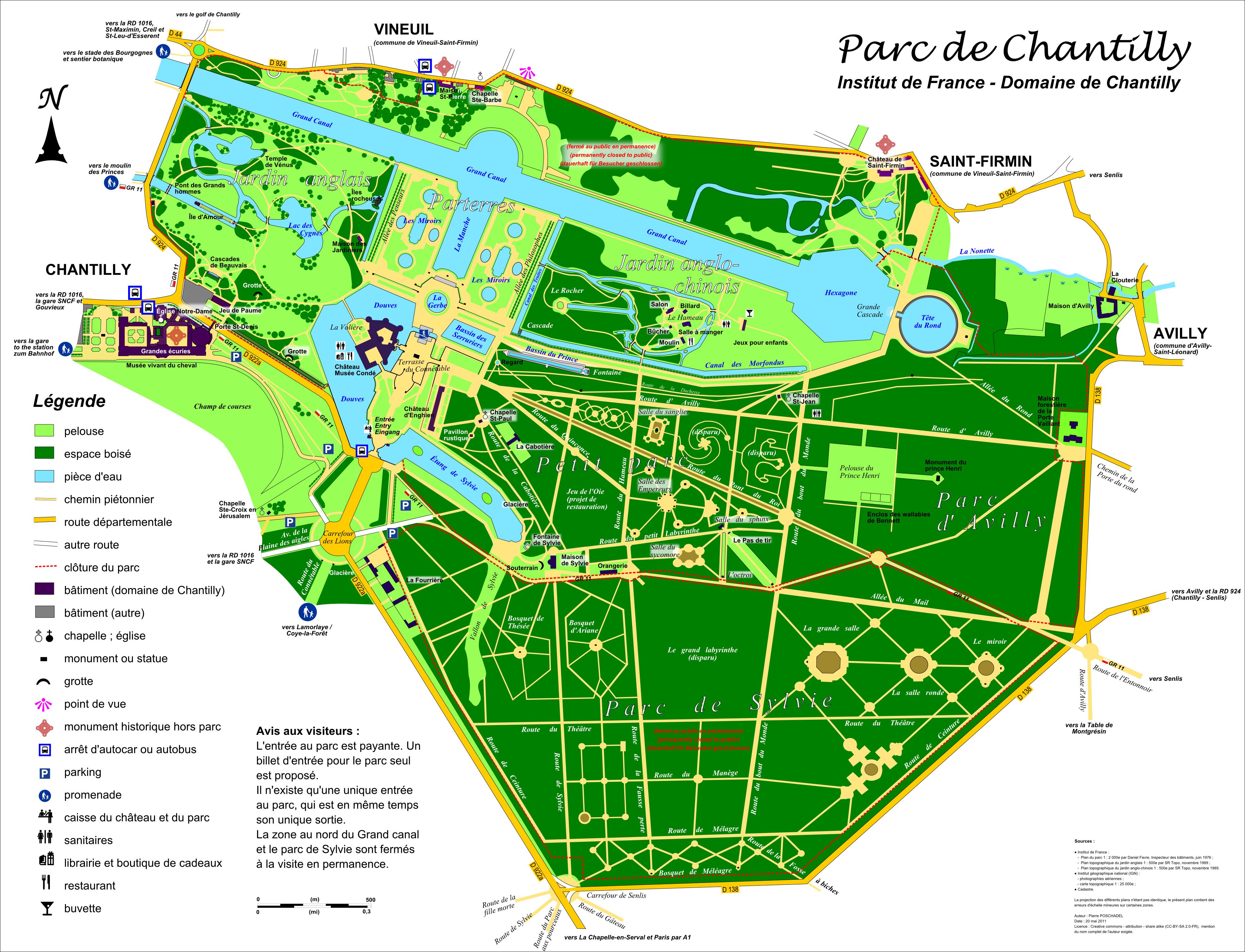 Plan du parc de chantilly andr le n tre for Jardin anglais allemagne