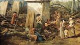 Détail : Groupe d'ouvriers bucherons ou repas avec marchande ambulante