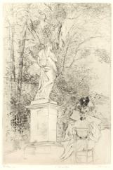 Statue et femme lisant de dos, pointe sèche, musée Bonnat Bayonne