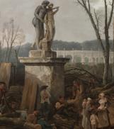 Détail : Groupe devant la statue de Castor et Pollux