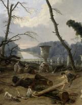 Détail : Enfants jouant à la balançoire avec le Grand canal au loin