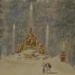 on remarquera la diversité des fontaines, des jets, des nappes et des cuves des figures...