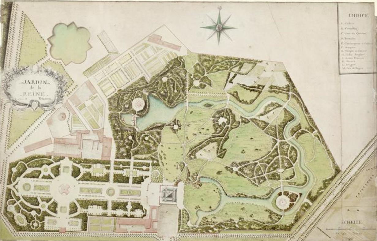 Plans du petit trianon du xviiie si cle andr le n tre for Jardin xviiie siecle