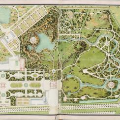 Plan du jardin et château de la Reine, gouache deClaude-Louis Châtelet(vers 1770)