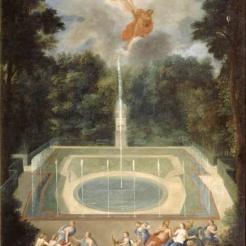 Vue des cinquante-deux jets de Trianon avec Mars et Vénus devant Apollon et Vulcain qui va les faire prisonnier avec un filet – Jean Cotelle