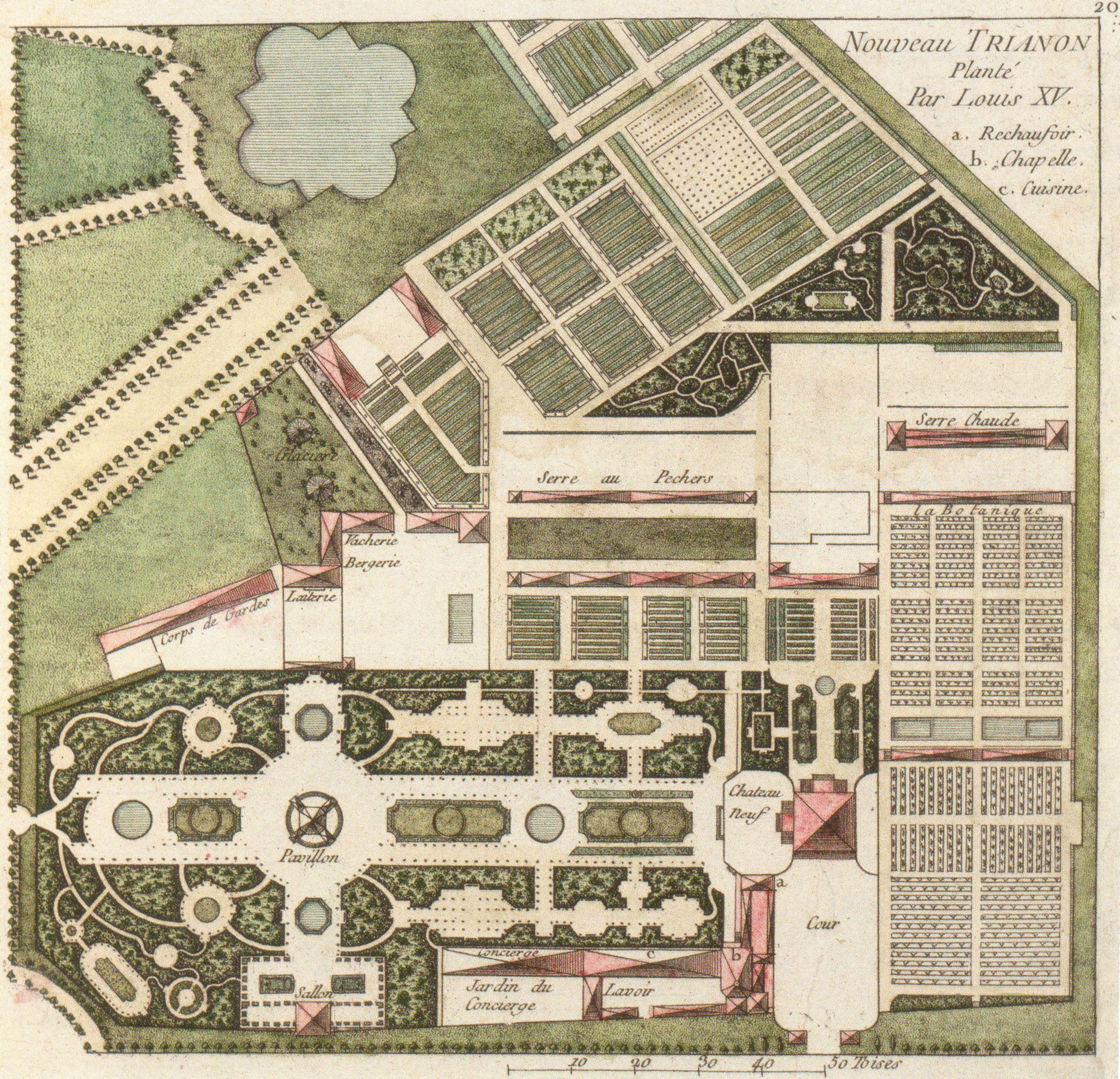 Plans du petit trianon du xviiie si cle andr le n tre for Jardin anglais du petit trianon