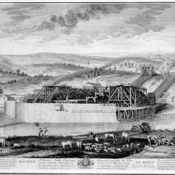 Engraving of La Machine of Marly, View from the river