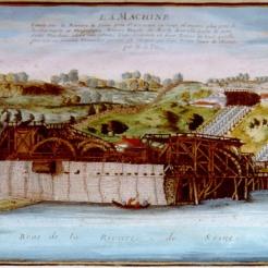 River View of the Machine of Marly, Colored Engraving from « Beautés de la France », Nicholas de Fer, 1705-1724