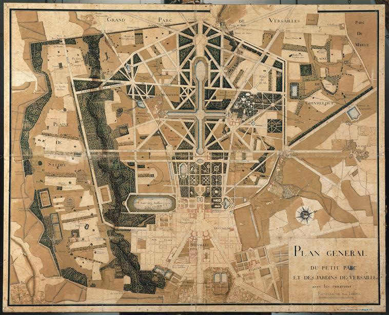 plan g n ral du petit parc et des jardins de versailles avec les environs par boileau 1744. Black Bedroom Furniture Sets. Home Design Ideas