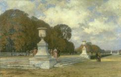 Les marches de marbre rose à Versailles (paysage d'automne dans le parc de Versailles) – 1898