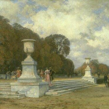 Les marches de marbre rose à Versailles (paysage d'automne dans le parc de Versailles) – 1898, Henri Zuber
