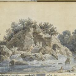 Projet pour la grotte du bosquet des bains d'Apollon à édifier dans les jardins de Versailles, Robert Hubert (1733-1808) (attribué à)