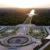 vue aérienne du bassin de Latone en restauration