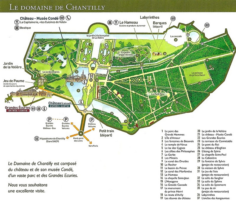 Plan du parc de chantilly andr le n tre for Jardin anglais rambouillet