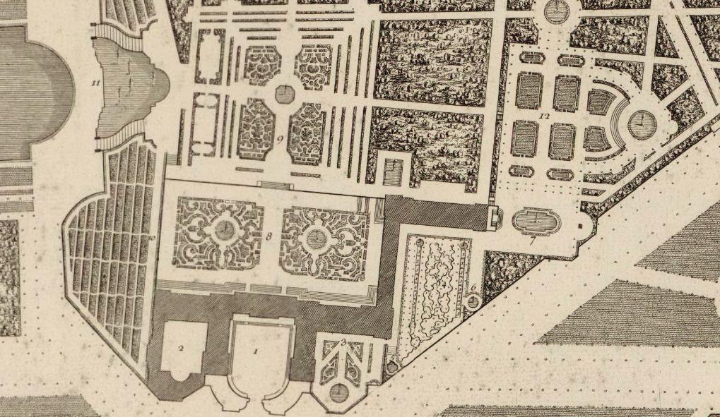 Plan du palais et jardins du grand trianon avec les for Trianon plan salle