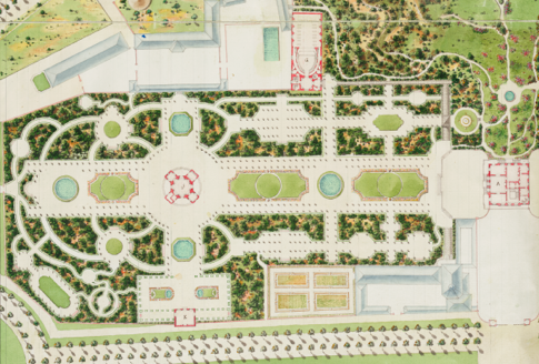 Plan du jardin la fran aise et du jardin l anglaise du for Jardin a la francaise chambord