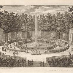 Vue du bosquet des Bains d'Apollon (bosquet des Dômes) dans les jardins de Versailles, Recueil édité sous le règne de Louis XIV (1643-1715)