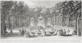 Vue du bosquet des Bains d'Apollon dans les jardins de Versailles vers 1730, Jacques Rigaud