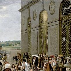 La grotte de Thétis vers 1673. Louis XIV et le Grand Dauphin devant la grotte de Thétis, École française