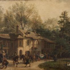 Visite de la reine Victoria en 1855 : au hameau de la Reine par Girardet