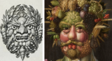 Masque de coquillage mis en parallèle avec une peinture de Giuseppe Arcimboldo