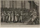Audiance donnée par le Roi Louis XV au chateau de Versailles à Said Bacha Beglerbeg de Romilie Ambassadeur turc le 10 janvier 1742