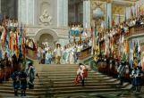 Louis XIV reçoit le Grand Condé à Versailles, au pied de l'escalier des ambassadeurs. Jean-Léon Gérôme
