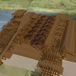 Grands et petits chevalets, de premier plan; plate-forme de roue à aubes