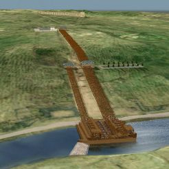 Machine de plate-forme de roue, au premier plan; puisards et réservoir de mi-cote, middleground; Louveciennes aqueduc et supérieure puisard / réservoir de fond