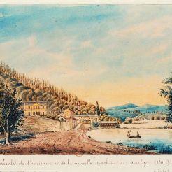 Vue éloignée de la pompe à vapeur Martin et Cécile, en 1841