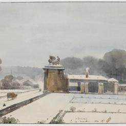 Entrée du parc de Versailles du côté de l'Orangerie, effet de neige, F.-M. Granet, 1840