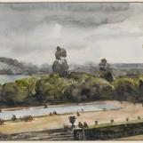 Vue du parc du château de Versailles, F.-M. Granet
