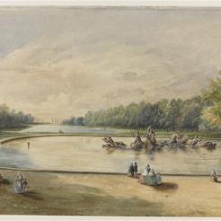 Vue perspective du Bassin d'Apollon et du Grand Canal de Versailles en 1858, Charles de Bertier