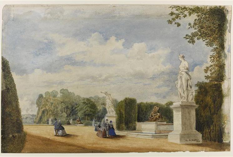 Vue du Cabinet des Animaux Nord ou Fontaine de Diane dans les jardins de Versailles en 1858, Charles de Bertier