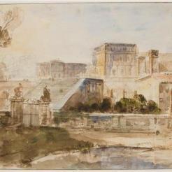 Versailles, vue imaginaire du château, F.-M. Granet