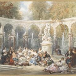 Réunion dans le bosquet de la colonnade à Versailles, Eugène Lami