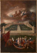 15. Vue de l'Orangerie et du château de Versailles avec l'enlèvement d'Hélène - Jean Cotelle