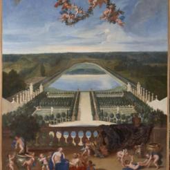 14. Vue de l'Orangerie de Versailles, de la pièce d'eau des Suisses et du Potager du roi avec Vertumne et Pomone - Jean Cotelle