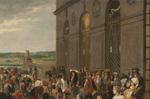 Louis XIV, à cheval, devant le grotte de Téthys suivi par Monseigneur et une partie de la cour dans les années 1670