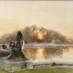 Versailles, soleil couchant sur le Parterre. - Aquarelle