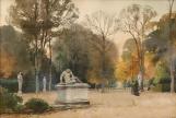 Versailles, vue animée du Galate Mourant - Aquarelle